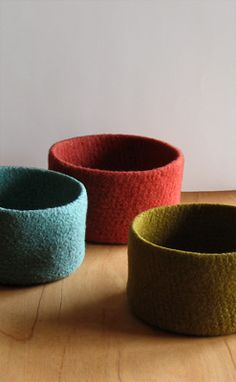 tall one colour felted wool bowls ... Need to try these