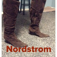 NWT Van Eli Nordstrom suede boots Size 9 1/2 brown suede knee high boots with 3 inch heels very soft suede side zipper pointy toes Vaneli Shoes