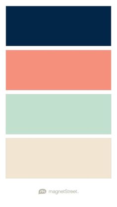 Navy, Coral, Celadon, and Champagne Wedding Color Palette - custom color palette created at MagnetStreet.com