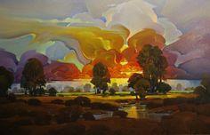 "Contemporary Painting - ""Blazing Dusk"" (Original Art from Mac Stevenson)"