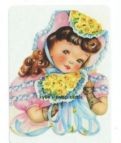 Y21-SINGLE-swap-playing-cards-PRETTY-VINTAGE-STYLE-LITTLE-GIRL-flowers-hat