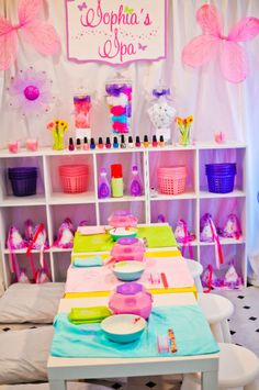 FAIRY SPAPARTY- cute idea, but if were at a home would have to be a small group of girls