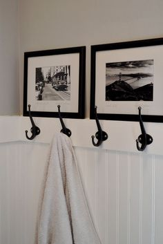 Love the beadboard hooks and photo decor. Kinda wish we had done this instead of our double towel bar which takes the same amount of space but holds two towels instead of four. Rock on Woodward! - April 27 2019 at Upstairs Bathrooms, Basement Bathroom, Bathroom Beadboard, Bathroom Wall, Hooks In Bathroom, Bead Board Bathroom, Beadboard Wainscoting, White Beadboard, Bathroom Hardware
