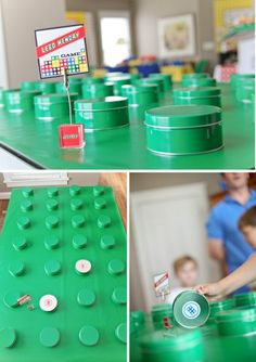 Giant Lego Match Game.  This blogging mamma affixed Lego stickers to the bottoms of tin containers to make them look like lego knobs.. She used green wrapping paper as the base.  Love it!
