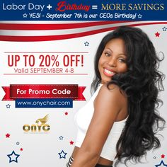 The #ONYCHair WorldWide Sale starts at Midnight!  Our CEO @facesofony is showing love for her Birthday which is on Labor Day! From discounts off her Favorite #hair Collections, Bundled Deals and Clearance Items. Shop with this once-in-a-while Savings Opportunity!   HURRY! Sale Ends: Tuesday, September 8th at 11:59 pm EST.  So Don't Delay!  For Promo Codes:  Shop US Now>>> onychair.com