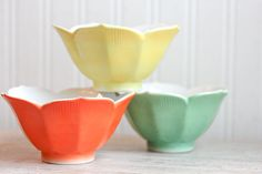 Vintage Lotus Bowls Porcelain Lotus Bowl Neon Citrus by MollyFinds, $16.00