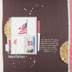 doilies, red/white/blue, wooden stars and stitching through the title   ScrappyJedi
