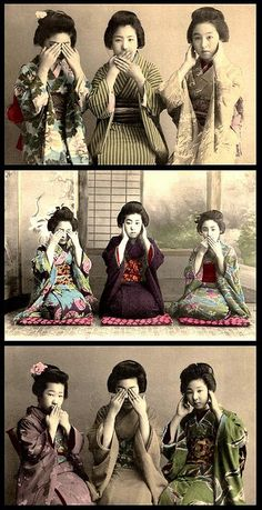 THE THREE EVILS -- 見猿, 聞か猿, 言わ猿 -- Japanese Geisha, Japanese Kimono, Vintage Japanese, Japanese Girl, Samurai, Old Pictures, Old Photos, Vintage Photographs, Vintage Photos