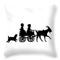 "#Silhouette of #Children in a #Goat Cart Throw #Pillow 14"" x 14"" .... #sale #gifts #interiordesign #interiordecoration #decor #home #throwpillows #artwork #Christmas #presents #Artist4God #RoseSantuciSofranko #designer"