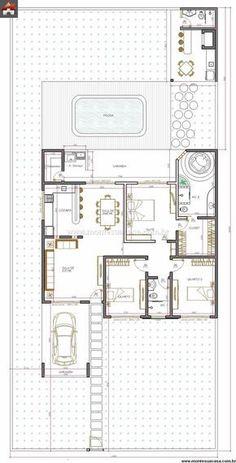 Casa 3 Quartos - 147.02m² - Projeto perfeito. Arejada, com piscina e térrea. Tudo o que quero. #cocinaspequeñasminimalistas