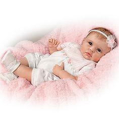 """So Truly Real """"Olivia's Gentle Touch"""" Lifelike Baby Girl Doll By Linda Murray by Ashton Drake Real Looking Baby Dolls, Real Baby Dolls, Cute Baby Dolls, Baby Girl Dolls, Cute Babies, Barbie Wedding Dress, Wedding Doll, Reborn Dolls, Reborn Babies"""