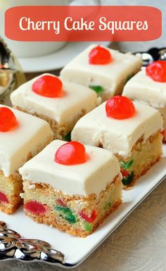 Cherry Cake Squares, inspired by a local Holiday favourite! Cherry Cake Squares are based upon a Newfoundland favourite Christmas cake. These easy cookie bars are quick to prepare, freeze well, and are always a hit. Baking Recipes, Cookie Recipes, Dessert Recipes, Food Cakes, Cupcake Cakes, 7 Cake, Fruit Cakes, Newfoundland Recipes, Rock Recipes