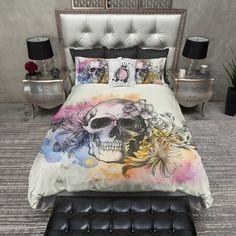Watercolor Sketch Skull Duvet Bedding Sets