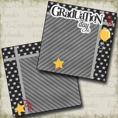 Graduation Premade Scrapbook pages! Just add photos to this layout! Complete your scrapbooks easily with our quick pages! School Scrapbook Layouts, Scrapbooking Album, Paper Bag Scrapbook, Scrapbook Titles, Scrapbook Templates, Scrapbook Journal, Scrapbook Supplies, Digital Scrapbooking, Scrapbook Stickers