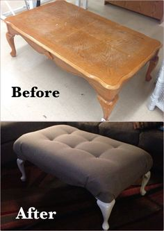 coffee table turned into ottoman - For lots of people residing in small inner city apartments findin. coffee table turned into ottoman - For lots of people residing in small inner city apartments findin. Diy Furniture Projects, Refurbished Furniture, Repurposed Furniture, Furniture Makeover, Farmhouse Furniture, Ikea Furniture, Furniture Design, Diy Projects, Garden Furniture