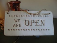 Double Sided Shop Sign Shabby Wooden Sign    Designed and Made by Craf'u  The Engraving Workshop  100% Handmade in UK We Are OPEN/We Are CLOSED Double