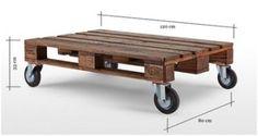 Tafel op zwenkwielen, gemaakt van een pallet.