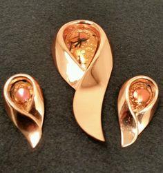 American copper Art Jewellery enamel Brooch & Earrings.By Matisse Renoir C1960's