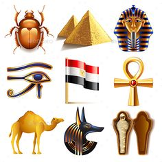 Egypt Icons Vector Set by andegro4ka Egypt Icons Detailed Photo Realistic Vector Set  Zip file includes: - eps10, editable vector- high-resolution jpg- layered rasteri