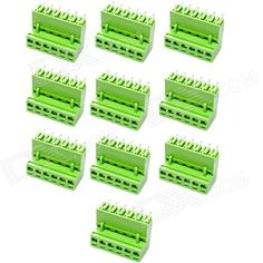 Model: 6434; Quantity: 10; Color: Green; Material: Plastic + iron; Features: 6-pin design; Voltage: 300V; CUrrent: 10A; Application: Electronic products or DIY project; Packing List: 10 x Terminal connectors; http://j.mp/1vnMmVI
