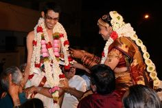 Significance of the exchanging of garlands: Wearing a garland worn by someone else is usually forbidden. But in a wedding, the man and wife exchange garlands, symbolizing that they are two bodies united as one from that moment on. #indian #tradition #ritual