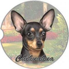 Chihuahua Black Car Coaster