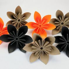 halloween decoration origami flowers 20pcs by justpatchshop