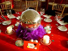 These disco-inspired centerpieces are perfect for any music theme party. Eco-friendly, whimsical and fun! These disco-inspired centerpieces are perfect for any music theme party. Eco-friendly, whimsical and fun! Disco Theme Parties, Disco Birthday Party, Music Themed Parties, 70th Birthday Parties, Music Party, Party Themes, Ideas Party, 1970s Party Theme, Fun Music