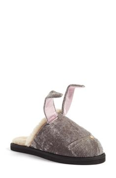 Free shipping and returns on kate spade new york 'bonnie - bunny' velvet slipper (Women) at Nordstrom.com. Embroidered whiskers extend from a gleaming logo nose while satin-lined ears flop overhead on a bunny-face slipper crafted in velvet and faux fur to keep your feet warm and hoppy.