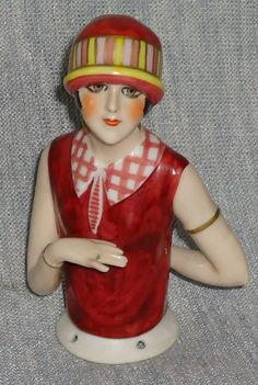 "VERY RARE BEAUTIFUL ART DECO ""GARCONNE"" ANTIQUE HALF DOLL"