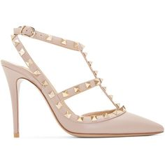 Valentino Mauve Rockstud Cage Pumps (3.825 RON) ❤ liked on Polyvore featuring shoes, pumps, heels, scarpe, embellished heel pumps, pointed toe ankle strap pumps, ankle strap stilettos, stiletto pumps and stiletto shoes