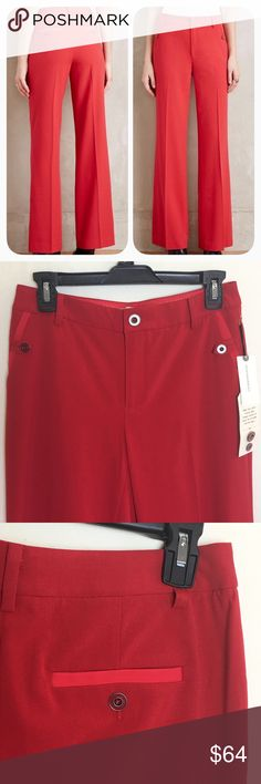 Gorgeous Cartonnier red trousers Classic work pants in a vibrant red. Wide leg, flat front with tab buttons on side pockets and buttons on back pockets as well. New with tags - extra buttons still attached. Anthropologie Pants Trousers