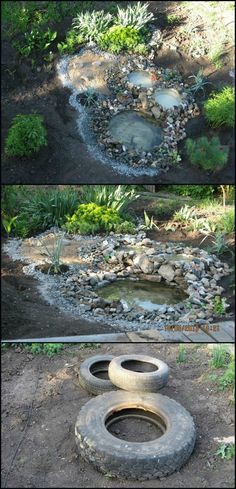 How To Build A Pond From Recycled Tires  http://theownerbuildernetwork.co/o3ak  Old tires are difficult to get rid of, and most of them end up in the dumps. This is a great project to recycle old tires, and turn them into something useful and beautiful.  With this easy to make and inexpensive water feature, your outdoor living area will become a wonderful getaway space.