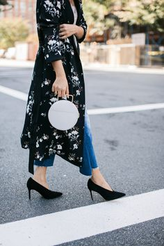 Style MBA Wears L'Academie x Revolve Floral Robe and Vince Pumps