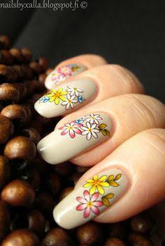 Essie Sand Tropez with flower water decals, nude nail polish