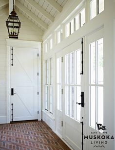 Coastal Muskoka Living Interior Design Ideas - light fixture for back deck