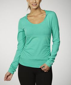 Love this Peacock Green Tummy Control Ruched Hoodie by Marika on #zulily! #zulilyfinds