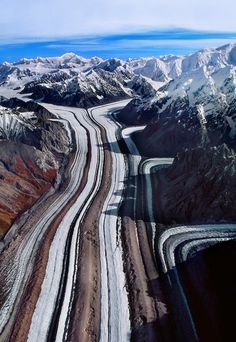 Nabesna Glacier (aerial), Wrangell-St Elias National Park and Preserve, Alaska - Fed by deep snowfall in the Wrangell Mountains, the 53 mile long Nabesna is the longest valley glacier in North America and the world's longest interior valley glaciers.