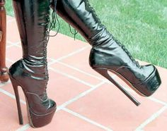 Black lace-up double platform high heel boots