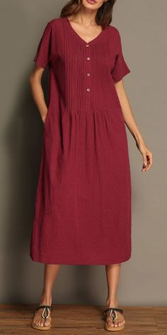 Gracila brand from NEWCHIC. Vintage Pure Color V-neck Pocket Short Sleeve Women Dresses. US size 8 to 20.