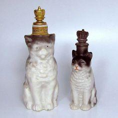 Vintage Jockey Club Striped Tabby Cat German Crown Top Perfume Bottle : Charmalier | Ruby Lane