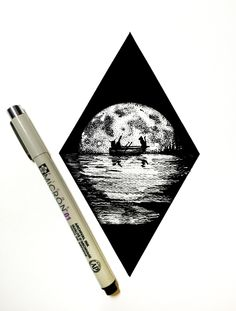 #moon #blackandwhite #pen