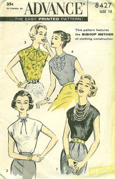 Advance 8427 - 1950s Tuck-in Blouses for Straight Skirts and Tight Pants