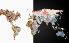 World map of banknotes featuring the currency of each country two world maps created with a countrys own currency gumiabroncs Images