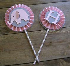 Pink and Gray Elephant Cupcake Toppers by BeautifulPaperCrafts