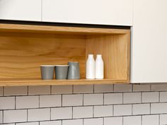 Mix of open shelving and white wall cabinets by Cantilever Interiors. Cupboard Shelves, Kitchen Shelves, Kitchen Redo, Kitchen Living, Kitchen And Bath, New Kitchen, Kitchen Storage, Kitchen Design, Kitchen Cabinets