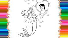 The Little Mermaid Drawing Ariel dreams of Prince Eric Coloring Book Son...