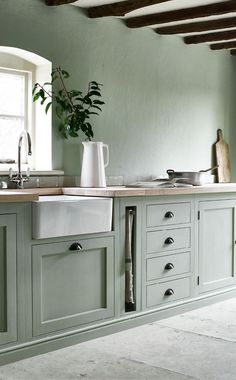My Strategy To Bring Color, Pattern, And Personality Into The Farmhouse Bathrooms And Kitchen (Without It Feeling Dated In 15 Years) - Emily Henderson Sage Green Kitchen, Green Kitchen Cabinets, Kitchen Colors, Kitchen Layout, Kitchen Designs, Green Kitchen Paint, Kitchen Cabinetry, Kitchen Backsplash, Kitchen Countertops