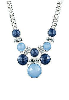 Anne Klein Blue Frontal Bib Necklace #belk #style