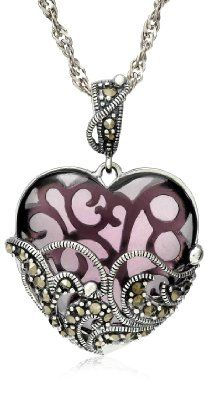 """Sterling Silver Marcasite and Amethyst Colored Glass Heart Pendant Necklace,18"""": Jewelry: Amazon.com"""